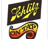 Vintage Neon Schlitz Beer Iron On Transfer DEADSTOCK