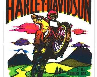 Vintage Neon Iron On Harley Davidson Transfer DEADSTOCK