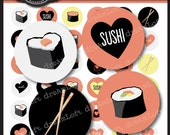 Sushi Love Collection 1 Inch Round Circles for stickers, coasters, tags, pendants, cupcake toppers, pins and more