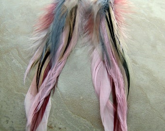Long Feather Earrings - Colorful Beaded Feather Earrings, Pink, Ivory and Gray Feathers