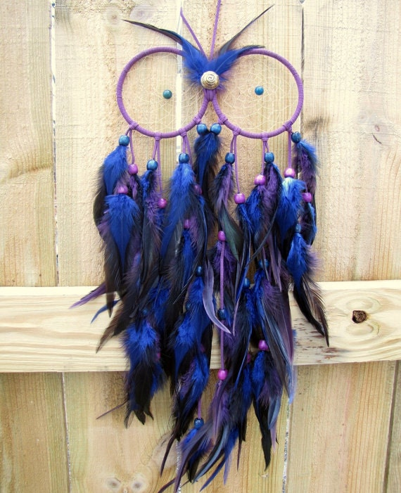 Purchase Dream Catchers SALE Owl Dream Catcher Blue and Purple Extra Large Feather 26