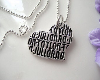 Names Love Note Heart - Sterling Silver Pendant