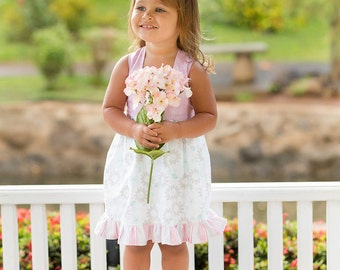 SALE  Organic Light Pink & White Cotton Floral Sundress - Girls - Spring - Flower Girl - Special Occasion - Celebration - Holiday