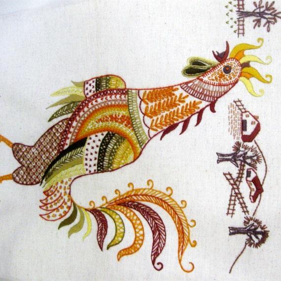 Vintage hen crewel embroidery needlework chicken wall hanging