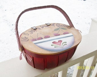 Handpainted Basket With Lid - Life Is A Bowl Of Cherries