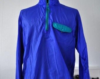 Vintage 90s Light WindBreaker by LL Bean Jacket Blue Green Nylon 1990s MEDIUM