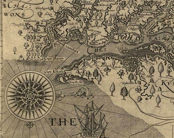 Instant Download Captain John Smith's 1624 Map of Virginia Fussy Cut You Print Digital Image