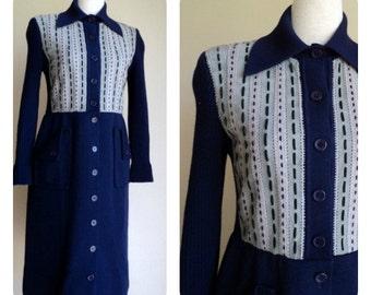 Vintage 1970's Navy Blue Suede Wool Long Sleeve Shirt Dress