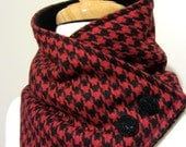 Red and Black Houndstooth Neck Warmer Scarf with Black Buttons