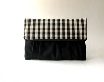 SALE - Fold over, boho, foldover clutch,  handbag, clutch, pouch - Delicada Fold Over Clutch in black and plaid brown / black fabric