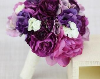 Silk Bride Bridesmaid Bouquet Roses Ranunculus Anemone Purple Lavender Violet Country Wedding Lace (Item Number 130120)