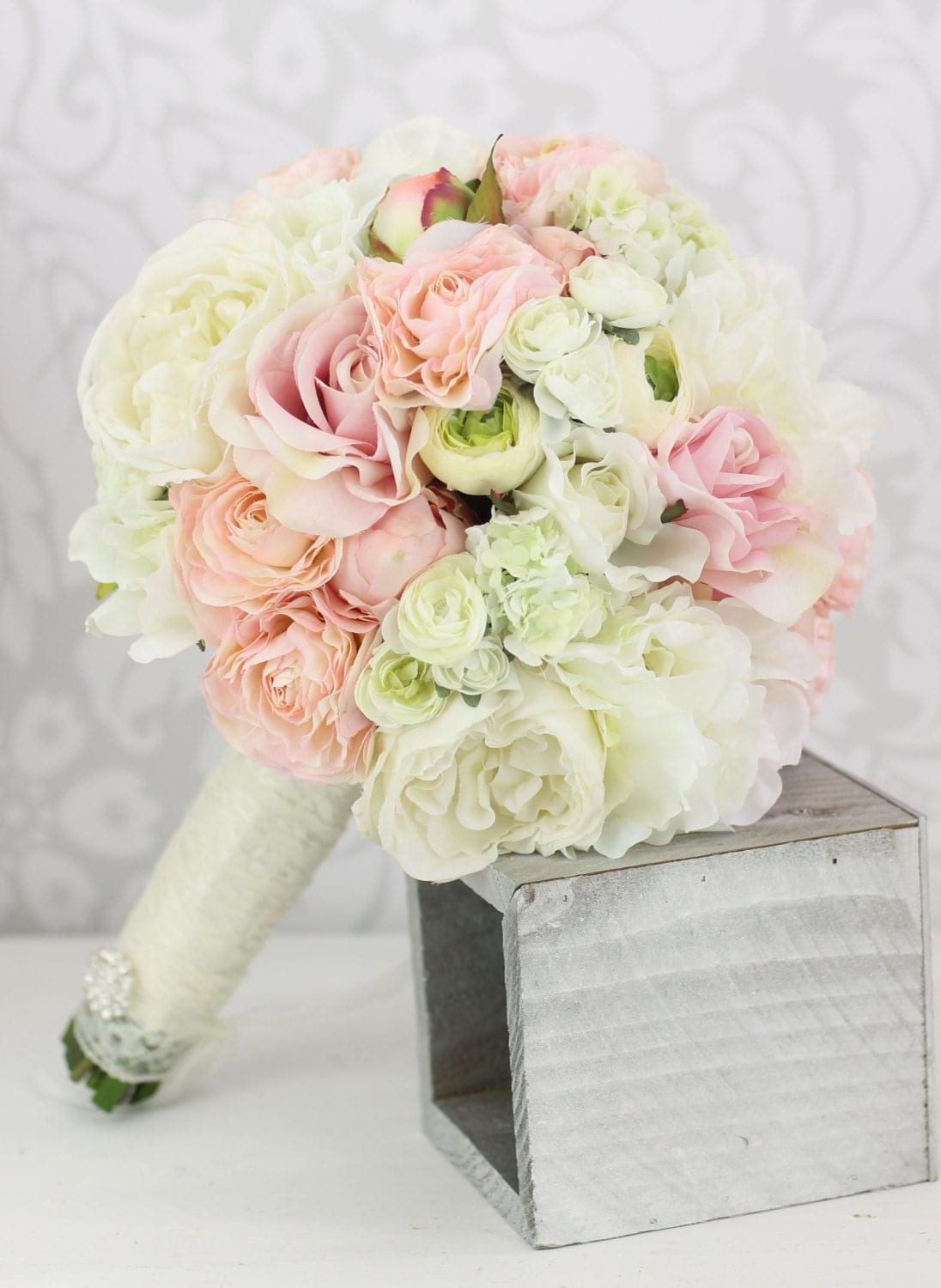 Silk Bride Bouquet Peony Flowers Pink Cream Spring By