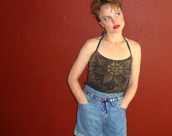 Vintage 90s High Waisted Denim Festival Shorts By Denim Republic - Size 9/10 Medium