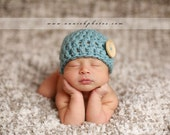 CROCHET PATTERN Newborn Boy Button Hat