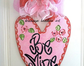 Be Mine Red + Pink Heart Door Hanger - Bronwyn Hanahan Art