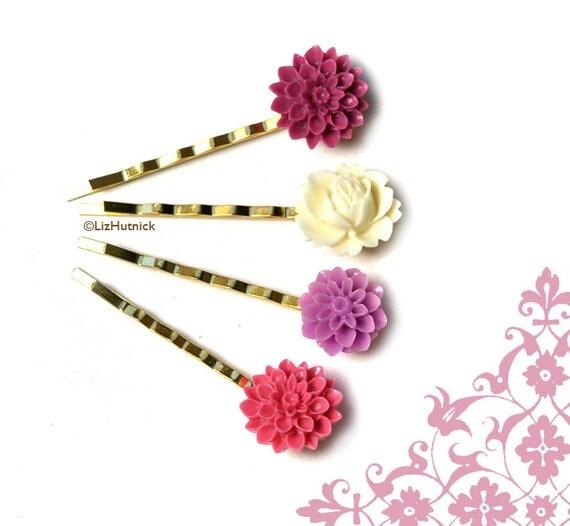 Pink Purple Flower Bobby Pins. Fresh Berries and Cream. Hair Accessories.
