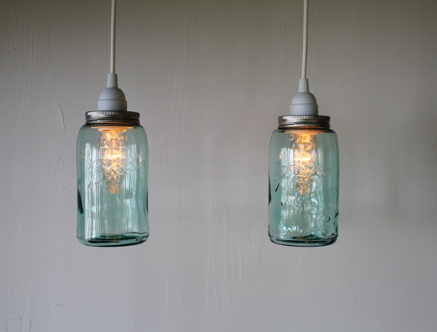 Pair of antique aqua blue ball mason jar hanging lighting for Hanging lights made from mason jars