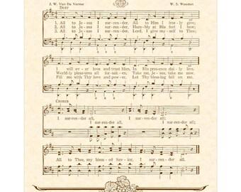 I SURRENDER ALL - Hymn Art Christian Home Decor VintageVerses Sheet Music Wall Art Sepia Brown Natural Parchment