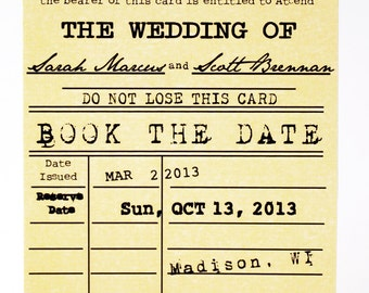 Save the Date Card - BOOK THE DATE -  Library Card Wedding Themed Vintage Style