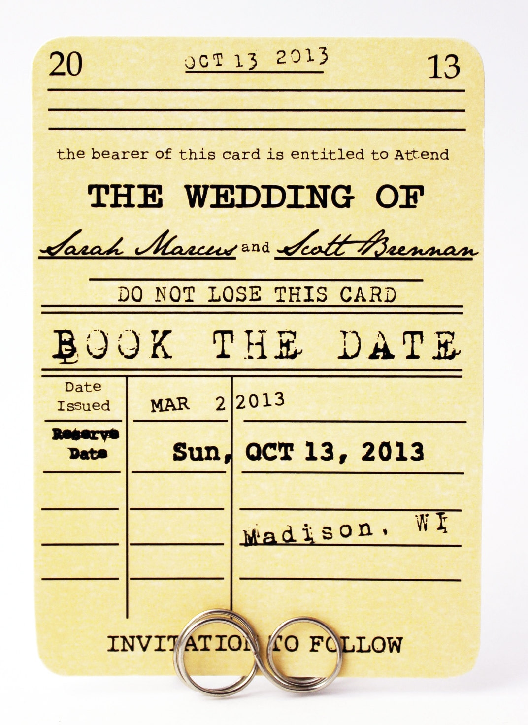 Save The Date Card Book The Date Book Wedding Themed Vintage Save The Date Card