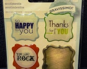 Great New Bravissimo Embellishment - 3 Sentiments & Brass Medallion - You Rock - from Making Memories - FREE SHIPPING