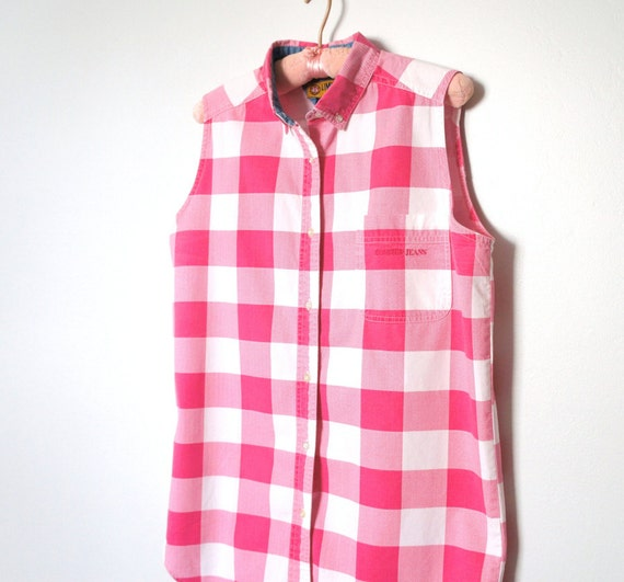 Blouse Vintage Summer Blouse 1980's Pink Plaid Blouse Sleeveless Checkered Women's Shirt SALE Size 16