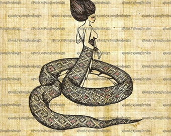 Snake Woman Digital Image Download - Digital Download for Iron on Transfer, Papercrafts, T-Shirts, Tote Bags, Cushions