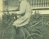 Riding a Tricycle Little Boy Pedaling in Grass Wooden Wheels Antique  Vintage Photo Snapshot Black White Photograph