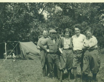 Looking Tough Fun Day At Camp 1920s Women in Pants Road Trip Group Shot  Vintage Photo Black and White Photograph