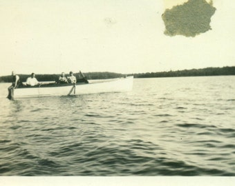 1920s Family In A Boat on Large Lake Fishing Swimming Vintage Photo Black and White Photograph