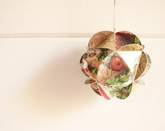 Large Geometric Upcycled Paper Ornament- Golden Bounty
