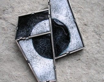 Enamel Brooch - Sterling Silver and Black and White Enamel - Modern Brooch - Cubist Brooch