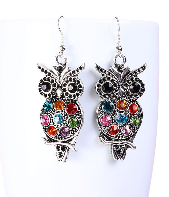 Silver tone colorful rhinestone owl bird drop dangle earrings (666) - Flat rate shipping