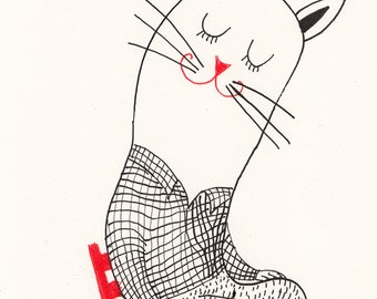 think about it  /Original black and white ink drawing / ink drawing of cat love / Heart shape-Primitive Drawing Original Art