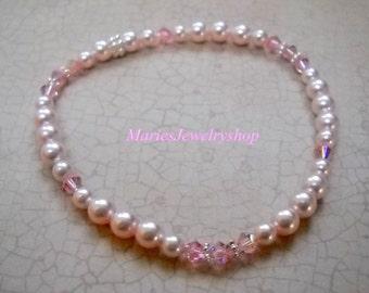 Handmade Baby Pink Swarovski Pearl and Light Rose Crystal Stretch Bracelet, Sterling Silver beads