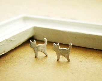 Tiny cat fine silver ear studs, handmade, teenage daughters, bridemaid gifts, for young girls, pmc, metal clay, sterling silver,