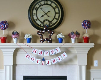 4th Of July  Banner Garland Shabby Chic Custom Wood 4 x 4 Tiles Sign Holiday