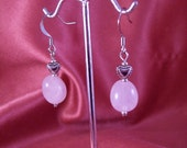 Hearts of Stone Rose Quartz Drop Earrings