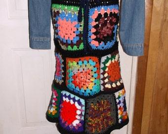 Hand Crochet Granny Squares Hippie Boho Festival Skirt - MADE TO ORDER