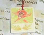 Gift Tag, Mini Ornament, Key Chain Fob, or large pendant Wildflower in Chartreuse green & Pumpkin orange                                  P8