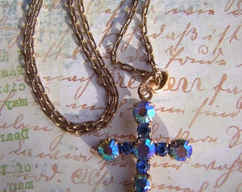 Vintage Necklace Blue Rhinestone Cross on Box Chain - Old Sparkling Rhinestone Cross