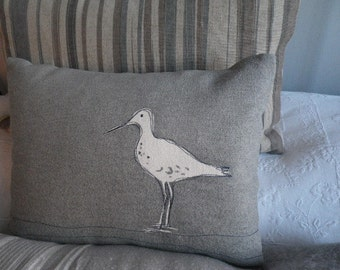 hand printed dove grey wading bird cushion