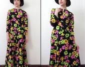 Vintage FLEUR NEON Maxi Dress S/M 1960s/70s