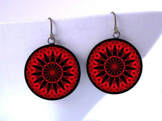 Eiffel Tower Mandala Dangle Earrings - Red and Black Travel Kaleidoscope Paris France French Jewelry