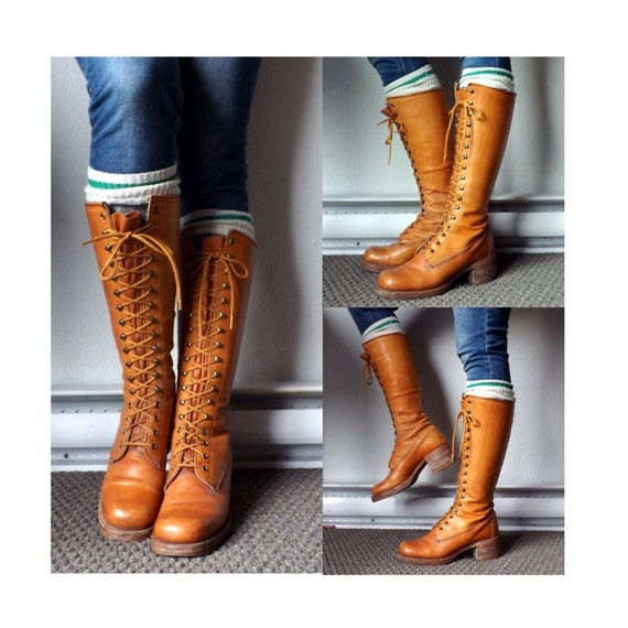 brown lace up knee high boots sz 61 2 6 5 leather