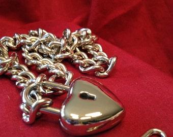 Chain Choker with Medium Heart Padlock