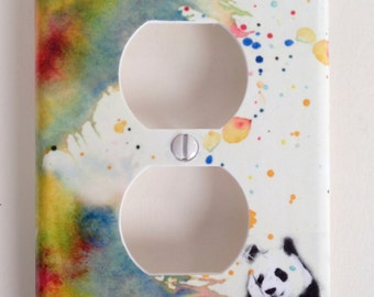 Panda Bear Decorative Light Switch Cover Outlet Great Kids Room Decor Wall Art and Baby Nursery Art decor