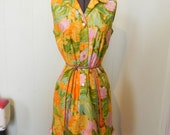 Sweet Water colour Floral Print Vintage 60s Summer Dress with Side Bows  M -on sale - maybel57