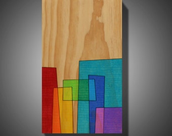 "11.25"" x 18.75"" - Original Abstract Art - Wood Burned on Pine - Colored with Prismacolor Pencils - Art on Wood - ""San Francisco Suburb"""
