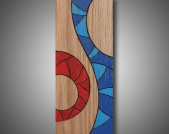 "Small original work of art on oak -  Modern abstract design - pyrography and Prismacolor pencils -  3.5"" x 8 .5"" Home decor ""Changes"""
